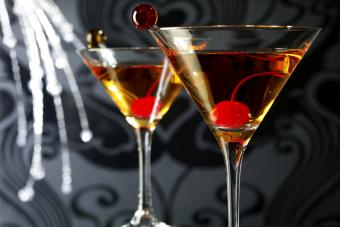 Two Manhattan Cocktail Drinks