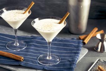 Homemade Creamy Eggnog Cinnamon Dessert Martini