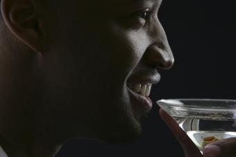 Man holding vodka martini