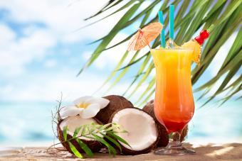 Coconut sunrise cocktail on the beach