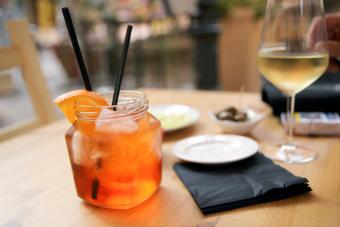 Coconut Spritz and wine on a table