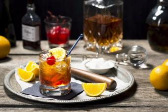 Old Fashioned Cocktail in a Vintage Bar