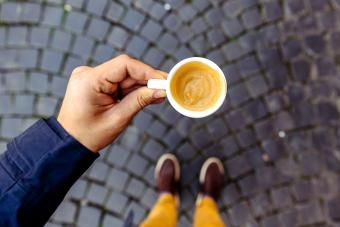 Drinking espresso with grappa