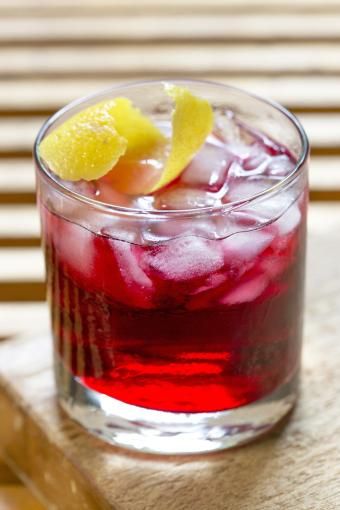 Vodka and Cranberry Cocktail with Lemon Garnish
