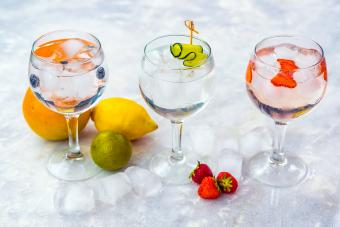 Three gin tonic cocktails