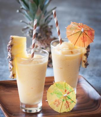 Frozen, blended tropical fruit cocktail