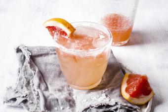 Mexican Paloma cocktail in salt rimmed glass