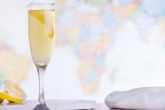 French 75 cocktail with a lemon twist