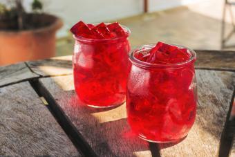 Gelatin Dessert In Jars On Table