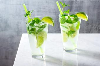 Two Mojitos On Table