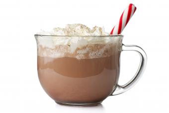 Hot chocolate with peppermint stick