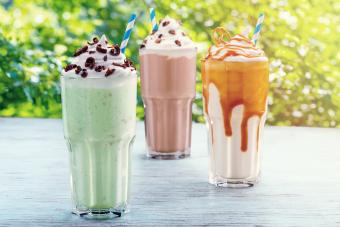 Milkshakes on a sunny table
