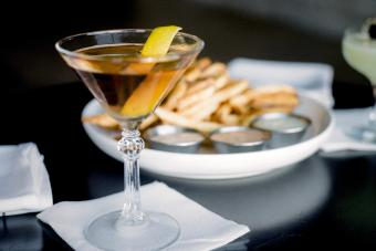 A perfect martini and french fries