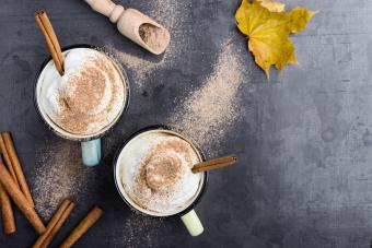 Eggnog spice latte with whipped cream