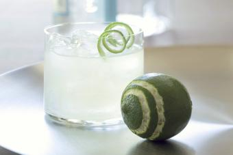 Vodka gimlet cocktail with lime