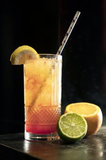 Cocktail glass, orange, lime and lemon