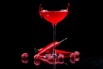 Red hot pepper and raspberries martini