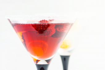 Red cocktail with raspberry