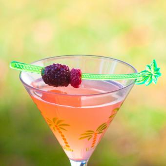Summer Martini with raspberry and blackberry