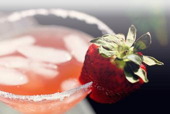 Martini time with sugar rim and strawberry