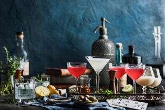 Several cocktails on table