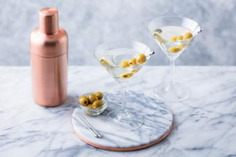 Martini cocktail with olives