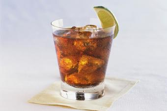 Rum and Cola with Lime Wedge