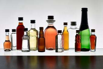 grouping of various miniature bottles of alcohol