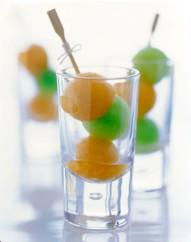 Vodka-spiked melon balls ready for cocktails