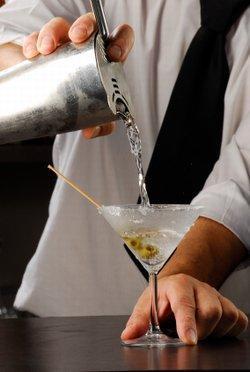 Mixing a martini