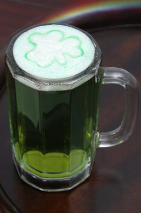 Traditional green beer for St. Patrick's Day