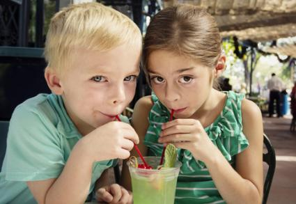 kids sharing a mint julep