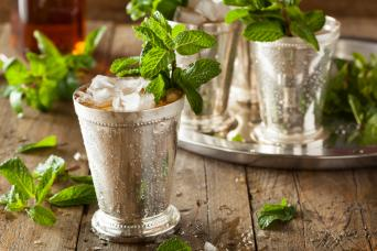 Mint julep in traditional metal cup
