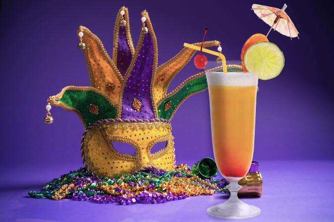 Hurricane cocktail for Mardi Gras