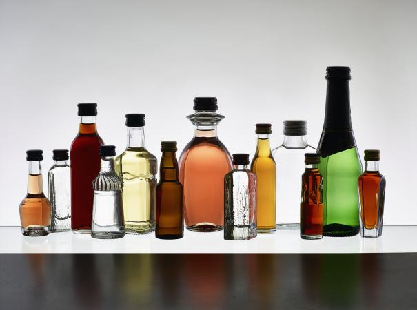 unlabeled liquor bottles