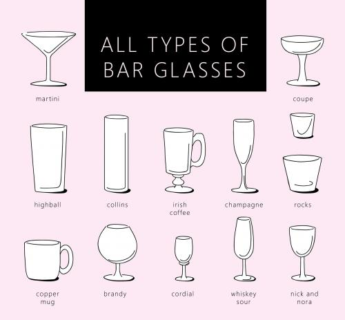 Types of bar glasses illustration