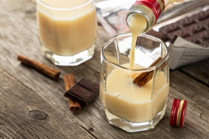 Slippery Egg cocktail made with Irish cream, butterscotch schnapps and eggnog