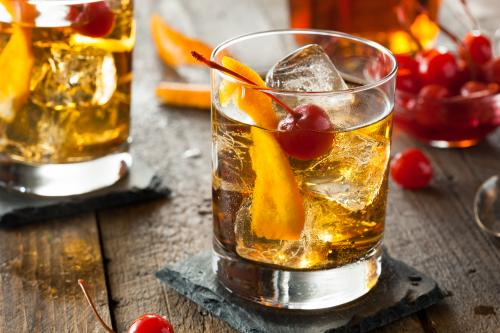 Old fashioned cocktail in a rocks glass