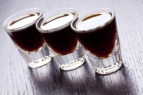 Coffee and raspberry liqueur shot