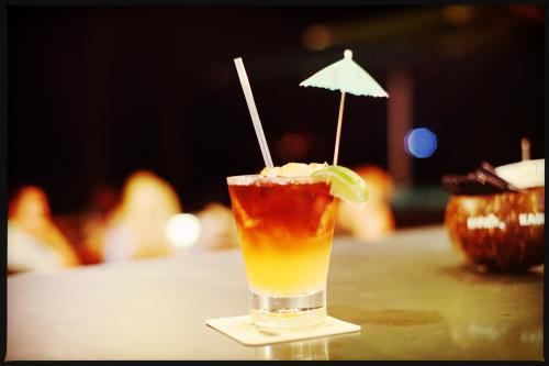 Classic rum umbrella cocktail
