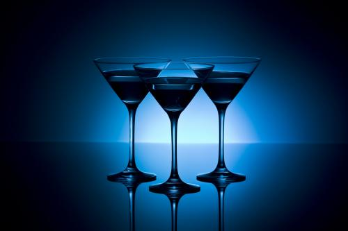 Gin martinis on blue background
