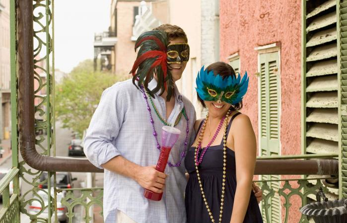 Couple with masquerade masks