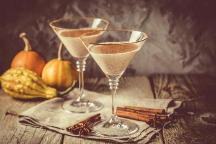 Autumn martini cinnamon cocktail