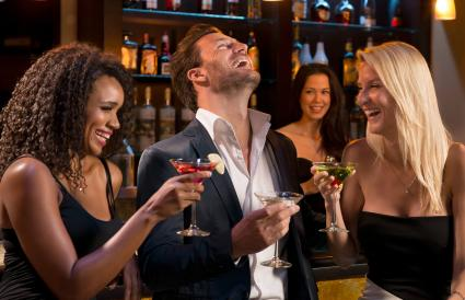 Man with Women drinking Martinis