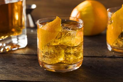 Homemade Old Fashioned Bourbon on the Rocks