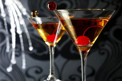 Two Manhattan Cocktail Drinks