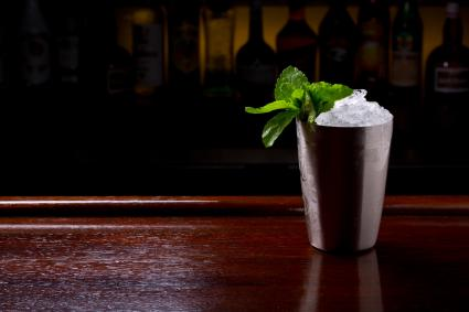 Mint Julep cocktail served in metallic traditional cup