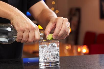 Vodka soda lime mixed drink