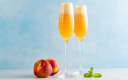 Bellini and fresh peaches