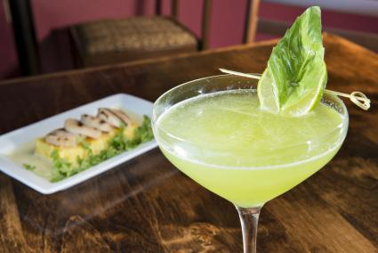 Lemon basil cucumber martini